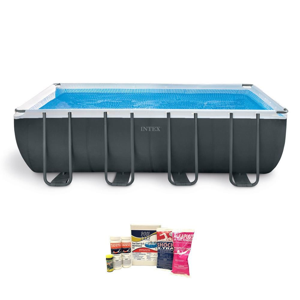 Intex Ultra 18 Ft Xtr Frame Pool Set With Pump And Chemical Cleaning Kit 26355eh Qlc 42003 The Home Depot Intex Rectangular Swimming Pools Swimming Pools