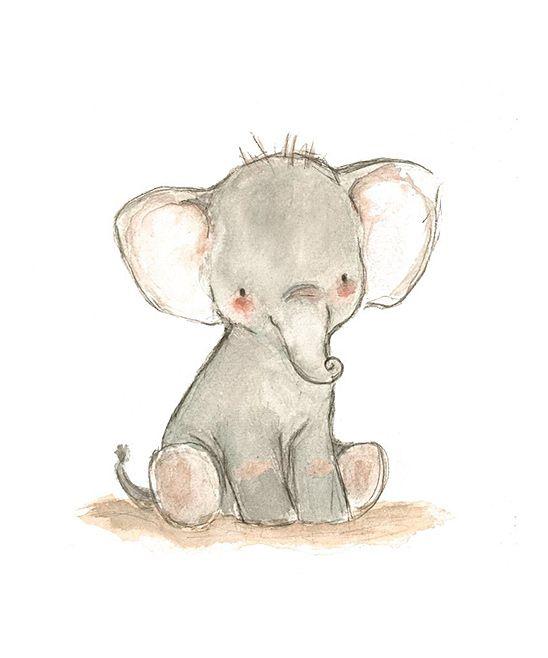 Little Elephant Print Zulily Walls Elephant Art