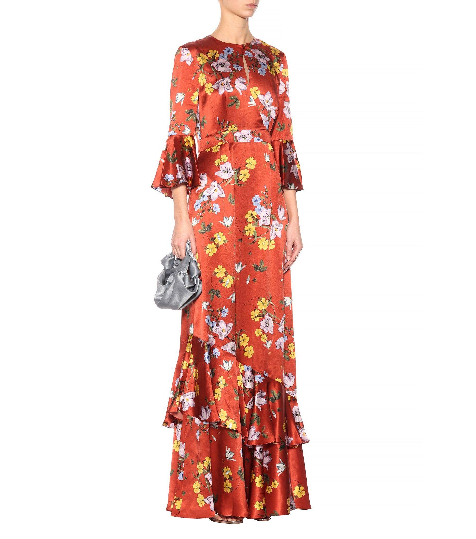Venice Printed Silk Maxi Dress Erdem s3Hcm