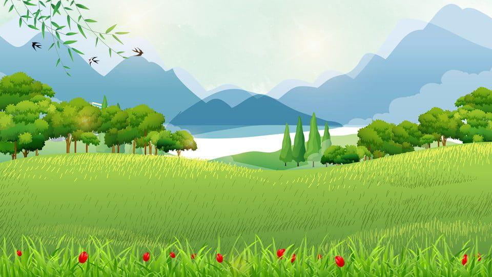 Highland Landscape Grass Mountain Background Mountain Background Landscape Background Cartoon Background
