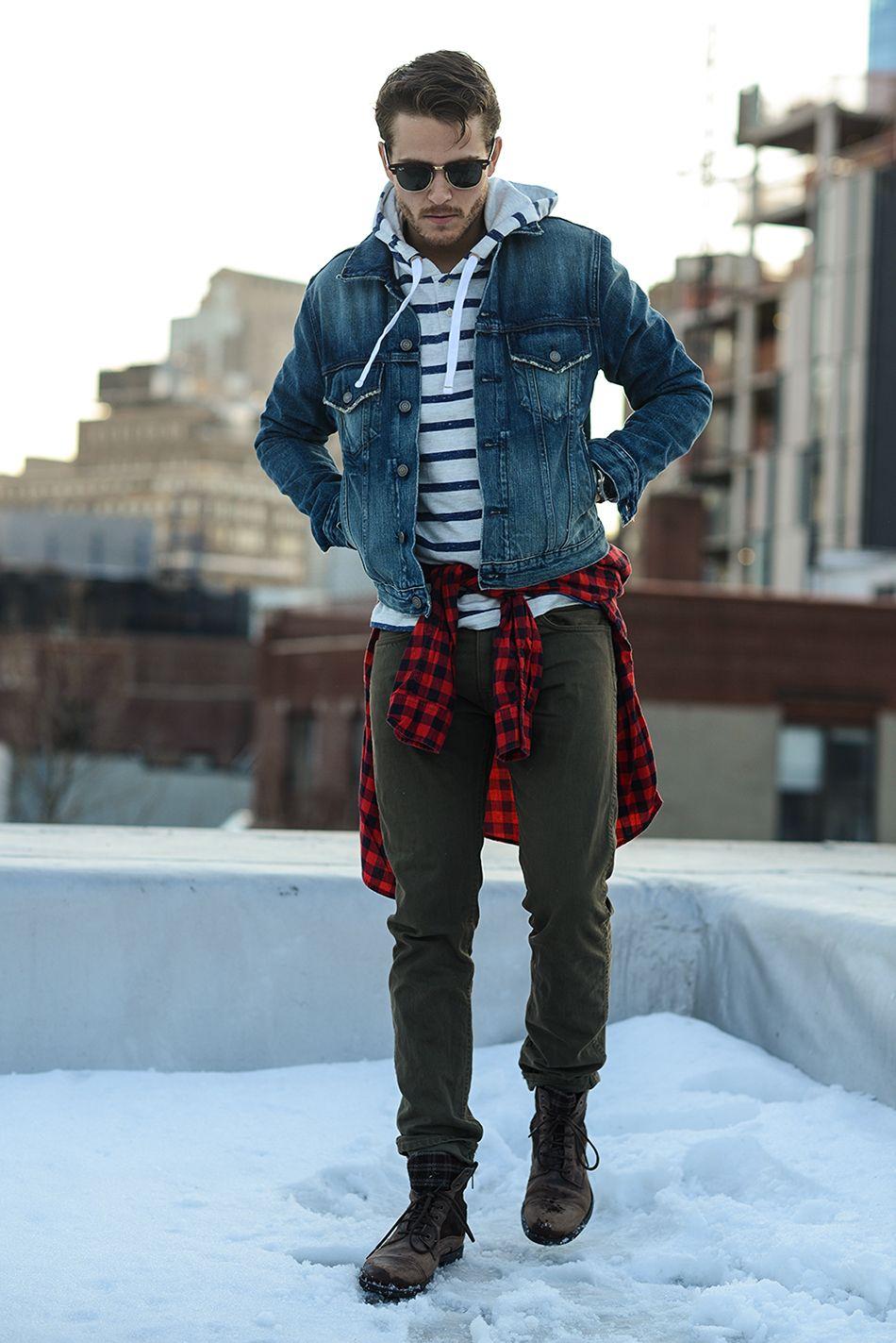 Men S Blue Denim Jacket White And Navy Horizontal Striped Hoodie Red And Black Gingham Long Sleeve Shirt Olive Chinos Mens Fashion Denim Mens Fashion Chinos Mens Fashion White [ 1423 x 950 Pixel ]