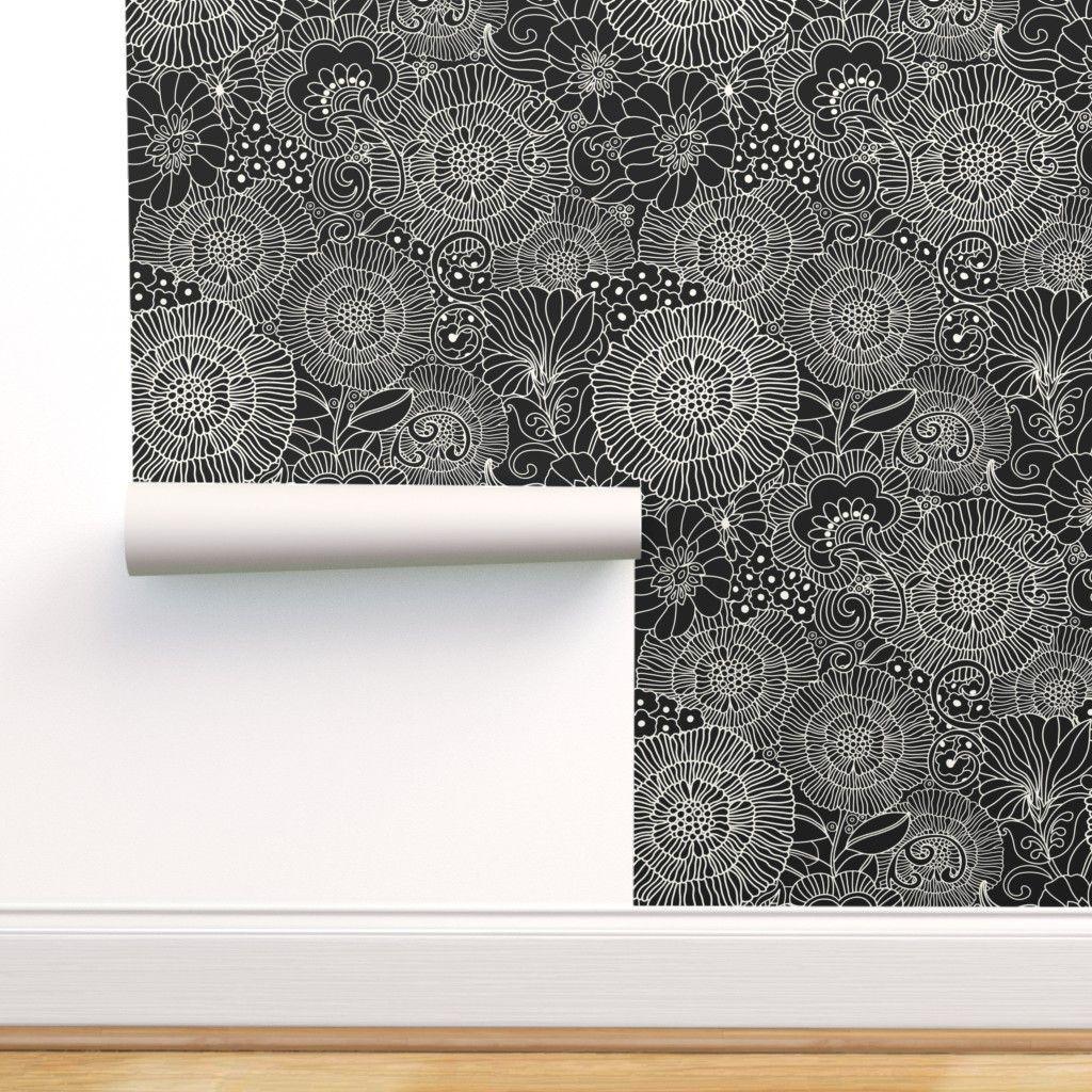 Retro Black And White Line Large On Isobar By Honoluludesign Roostery Home Decor Black And White Lines Black And White Wallpaper Retro Wallpaper