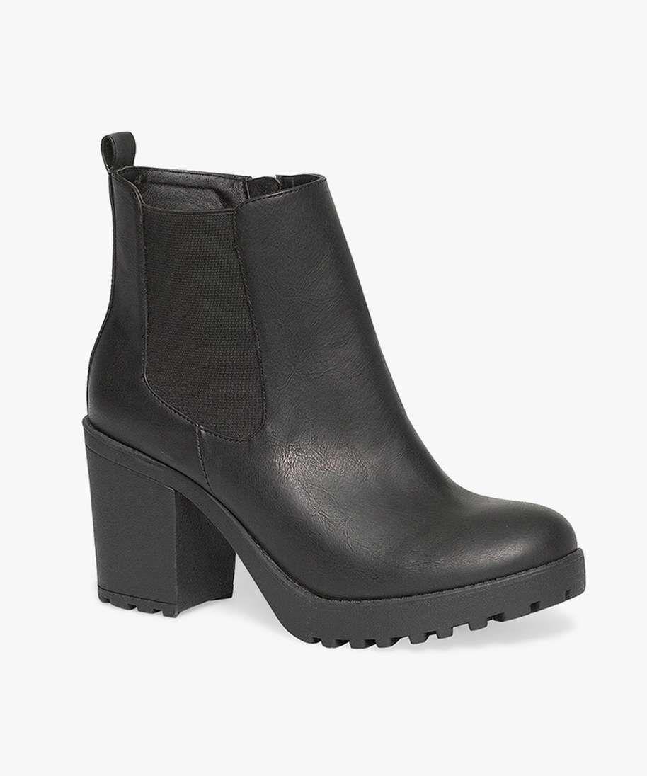 boots crantées à talon noir gemo 40e | shoes | pinterest