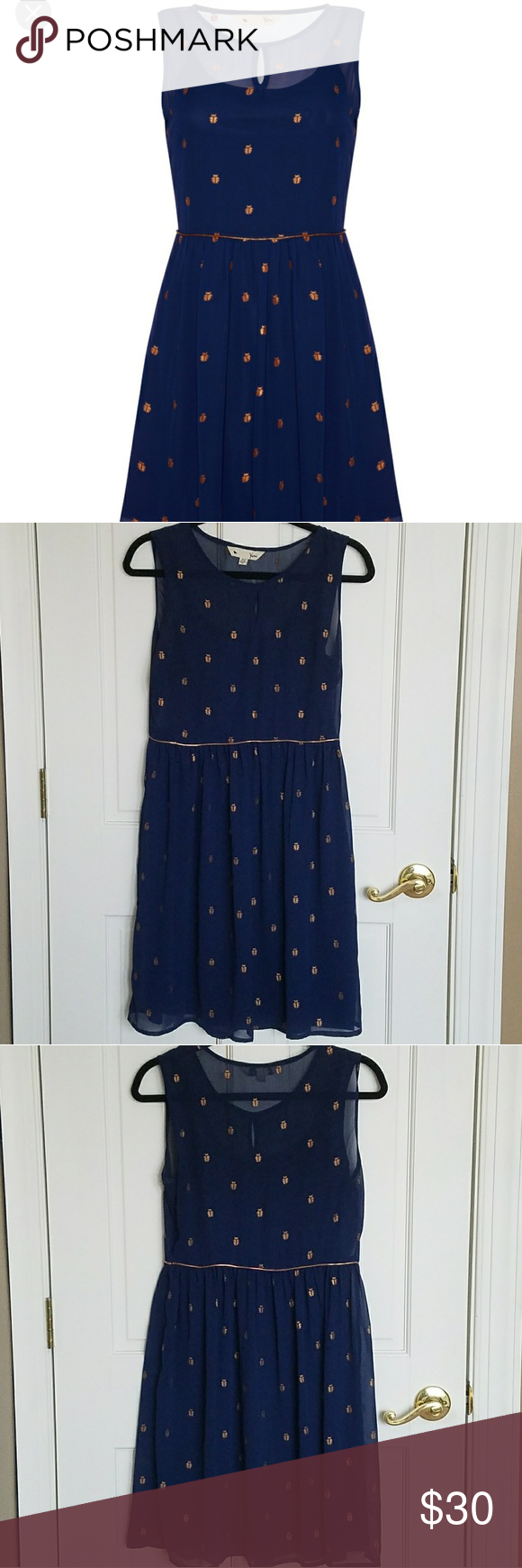 Yumi blue u gold flowy sleeveless dress size m yumi blue and