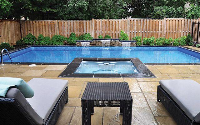 This vinyl-liner pool from Backyard Getaways was upgraded