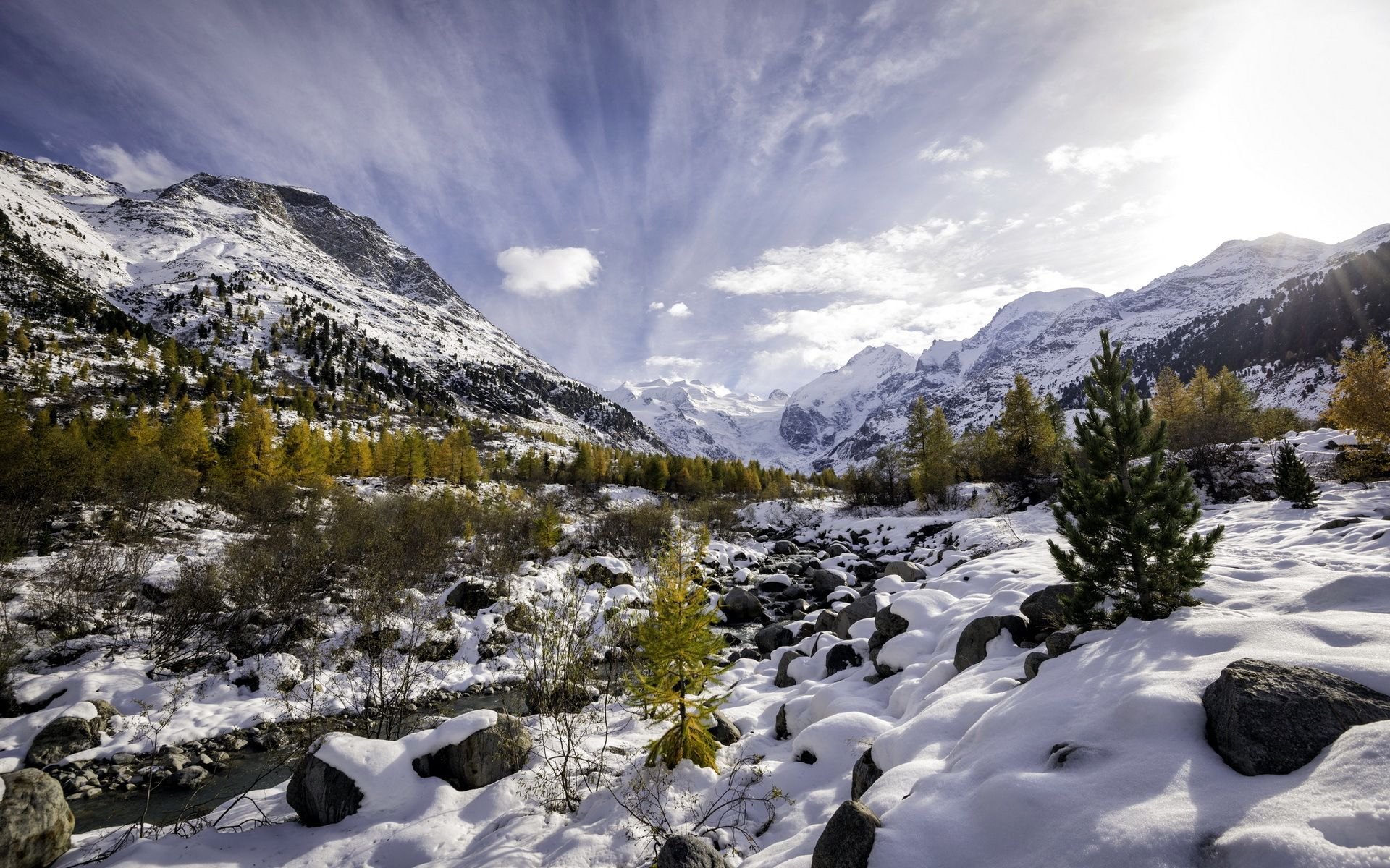 Download wallpaper autumn vs. winter, val morteratsch, pontresina, landscapes resolution 1920x1200