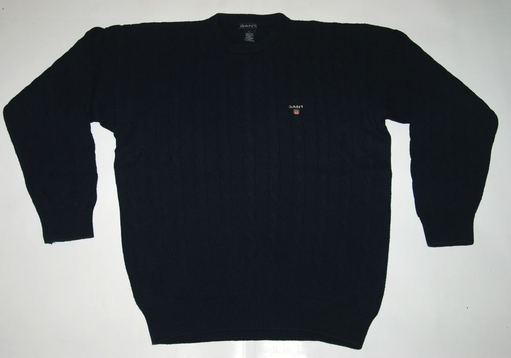 VINTAGE MADE IN ITALY GANT USA COTTON JUMPER BLUE CREW NECK