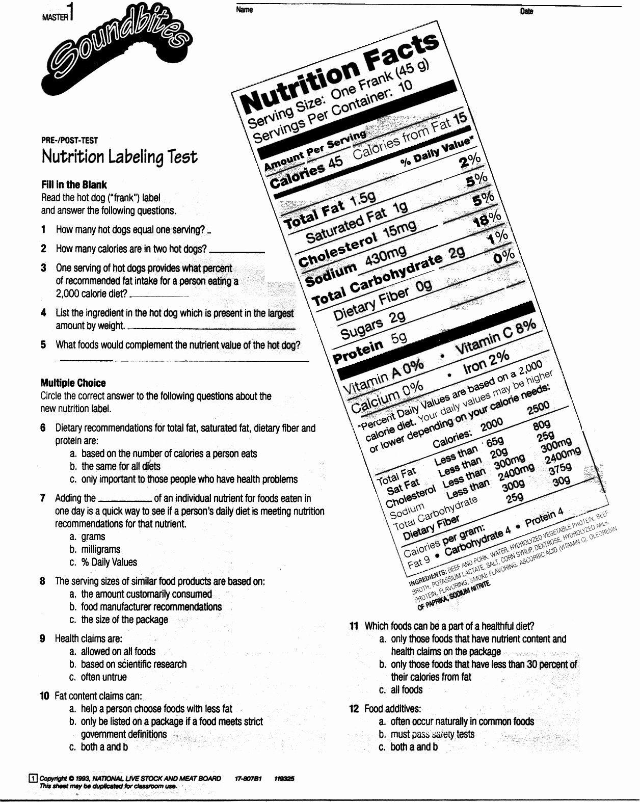 Nutrition Label Worksheet Answers Elegant Reading