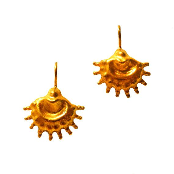 Yellow Gold Ethnic Earrings gold earring 24K by ChenFuchsJewelry