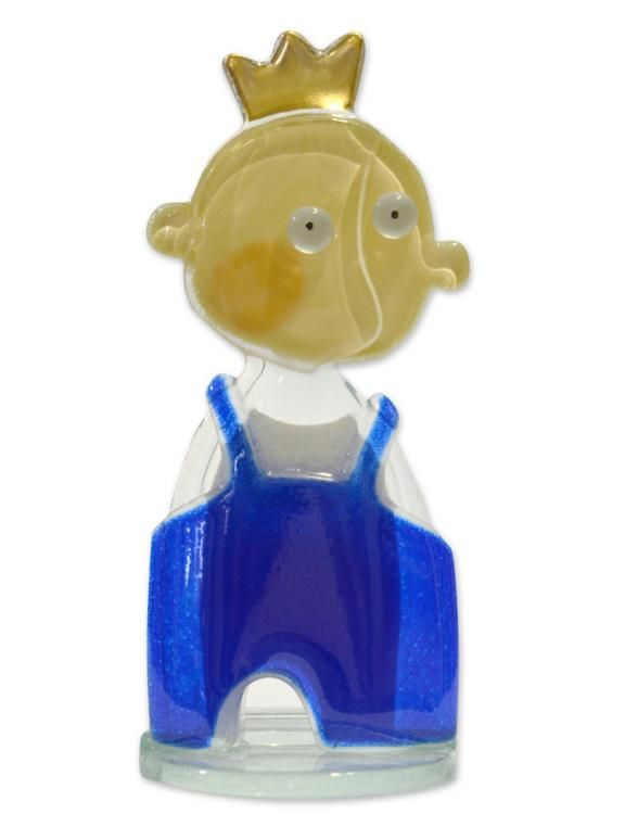 Fused Glass Person - Prince Poul Blue by Nobile Glassware. Available from Artworx Gallery, Shropshire, UK. www.artworx.co.uk