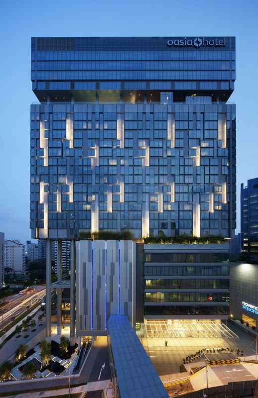 Novena Specialist Center And Oasia Hotel Dp Architects Hotel Facade Architectural Lighting Design Commercial Architecture