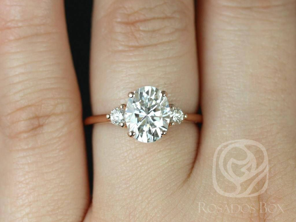 8187c8e30a296 2ct Oval Forever One Moissanite Diamonds 3 Stone Engagement Ring ...