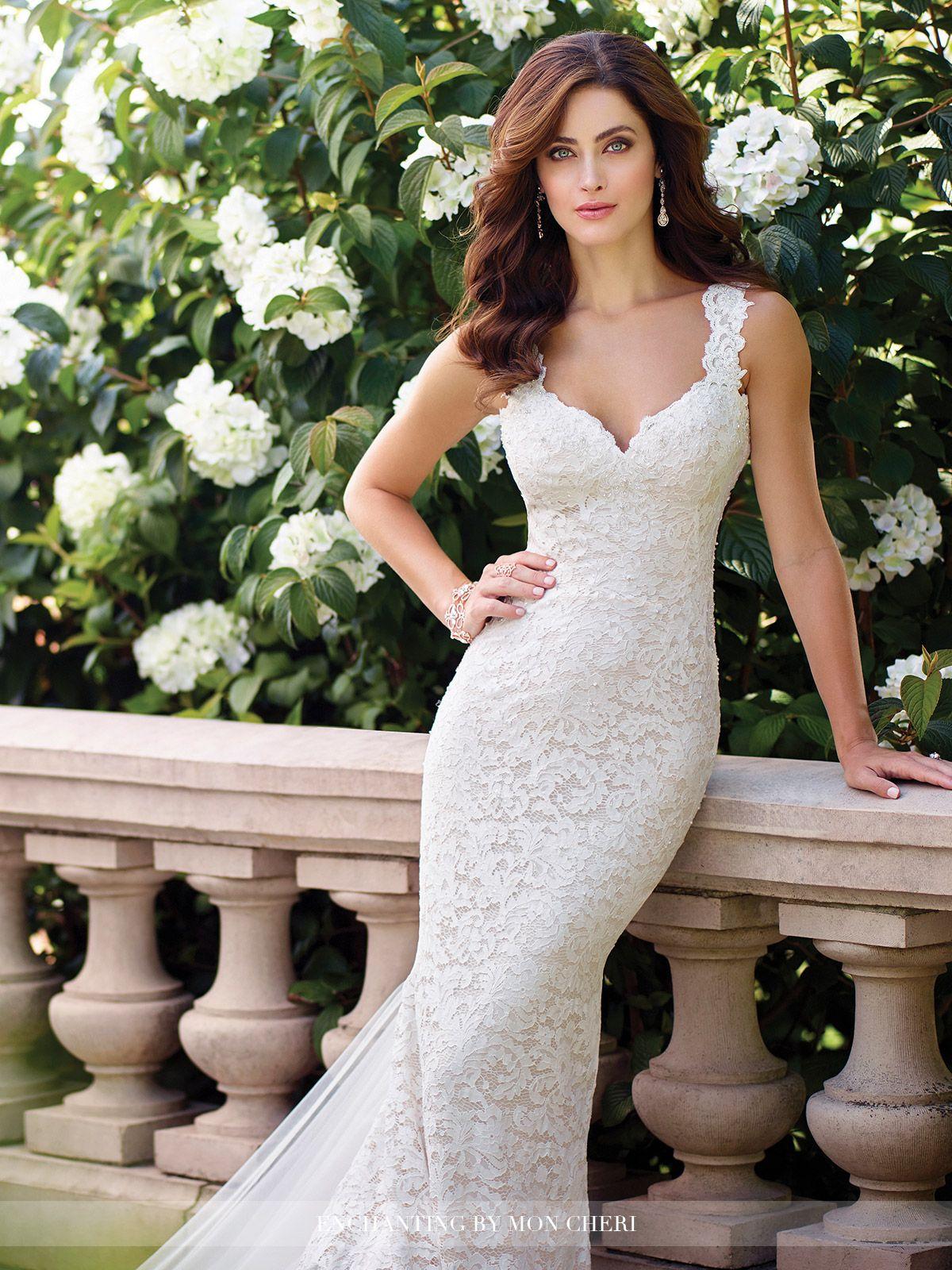 Illusion lace wedding dress  Sleeveless Chiffon Wedding Dress  Enchanting by Mon Cheri