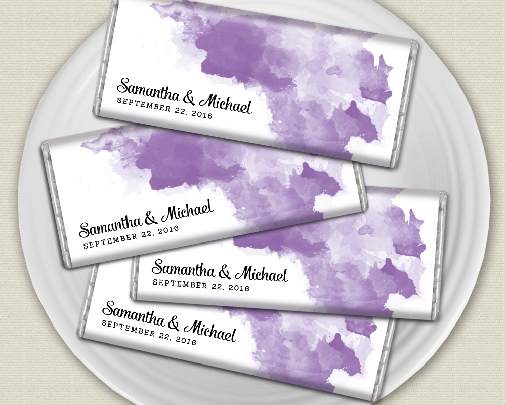 Purple Wedding Favors: Personalized candy bars with watercolor ...