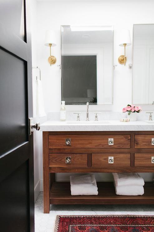 Walnut Bathroom Vanity, Transitional, Bathroom Recessed Cabinet Pulls Vanity  Bryant Scone Brass