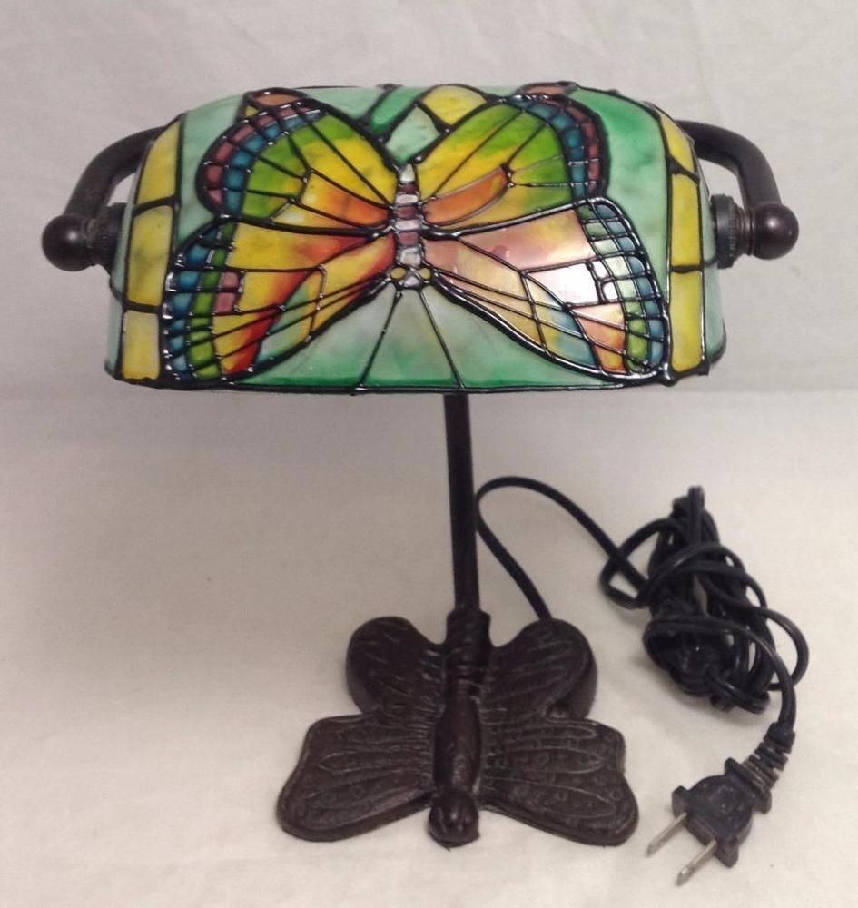 Tiffany style bankers stained glass butterfly desk lamp selling on tiffany style bankers stained glass butterfly desk lamp mozeypictures Image collections