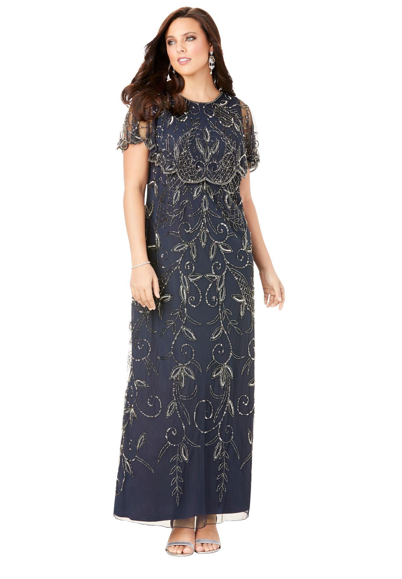 Roaman S Roaman S Women S Plus Size Glam Maxi Dress Beaded Formal Evening Capelet Gown Walmart Com In 2021 Glam Maxi Dress Plus Size Maxi Dresses Fashionable Plus Size Clothing [ 1986 x 1380 Pixel ]