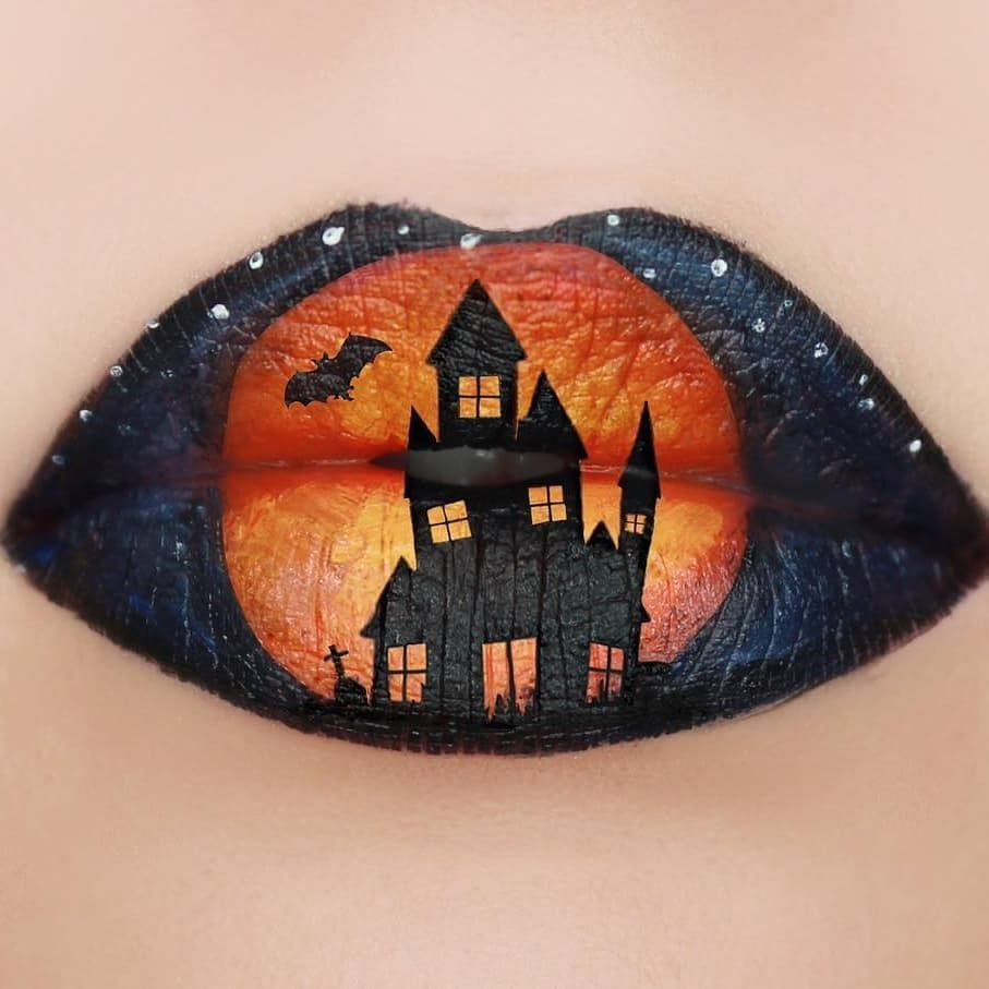 Halloween Makeup I Adore These Spooky Lips Amazing Lip Art Halloweenmakeupideas Makeupidea Halloween Lipart Pop Art Face Lip Art Face Art