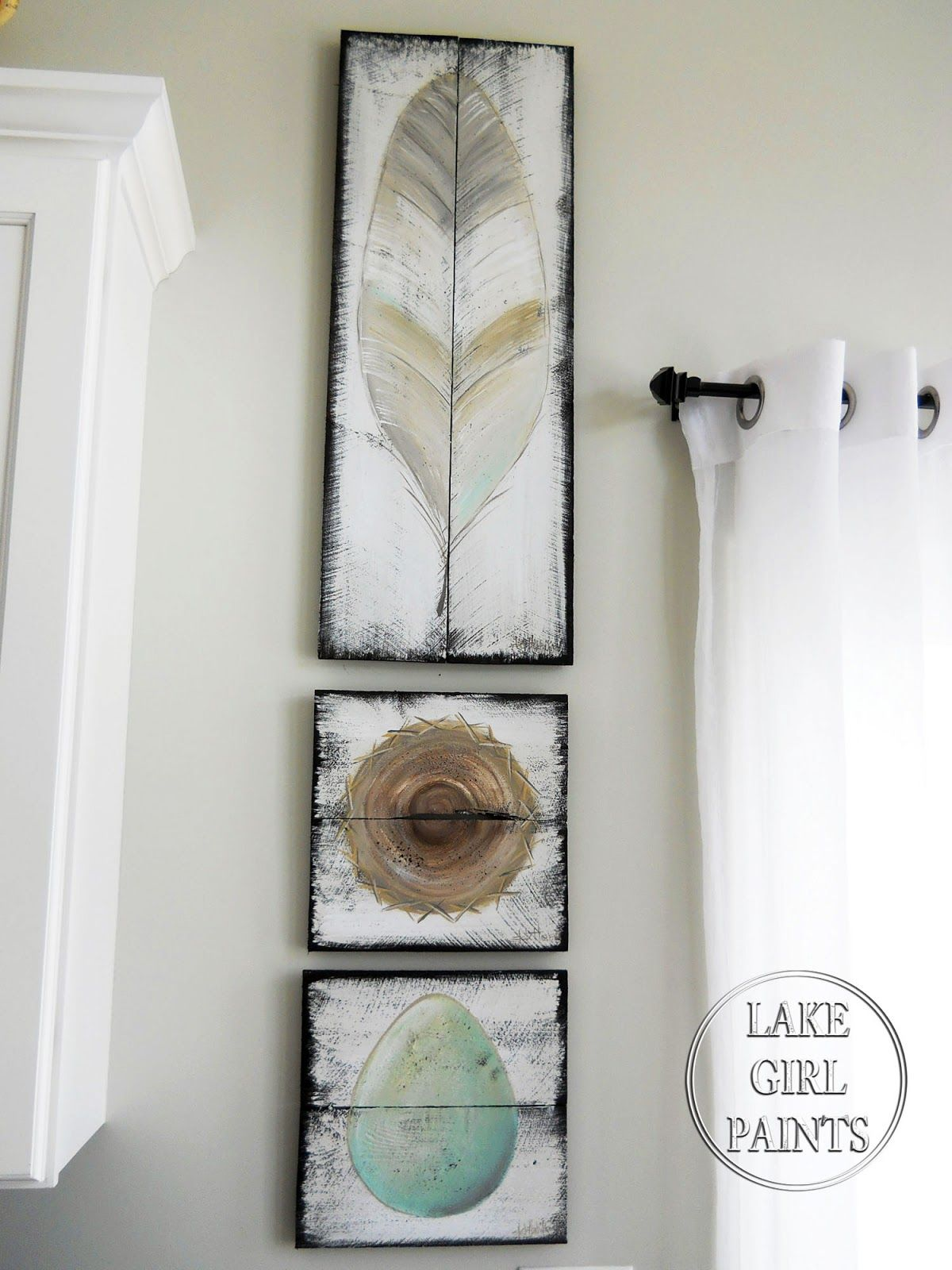 Feather Wall Art lake girl paints: feather - nest - egg - rustic wall art painting