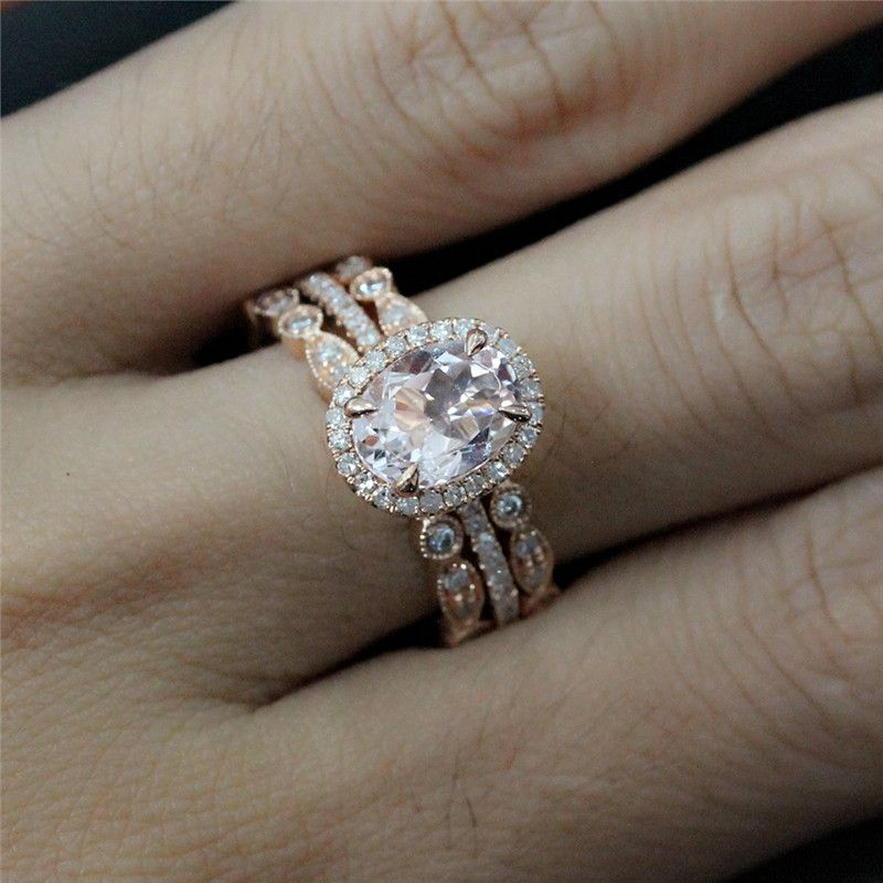 Bridal Ring Set Of 8x6mm Morganite Oval Engagement And 2 Diamonds Bezel Half Eternity