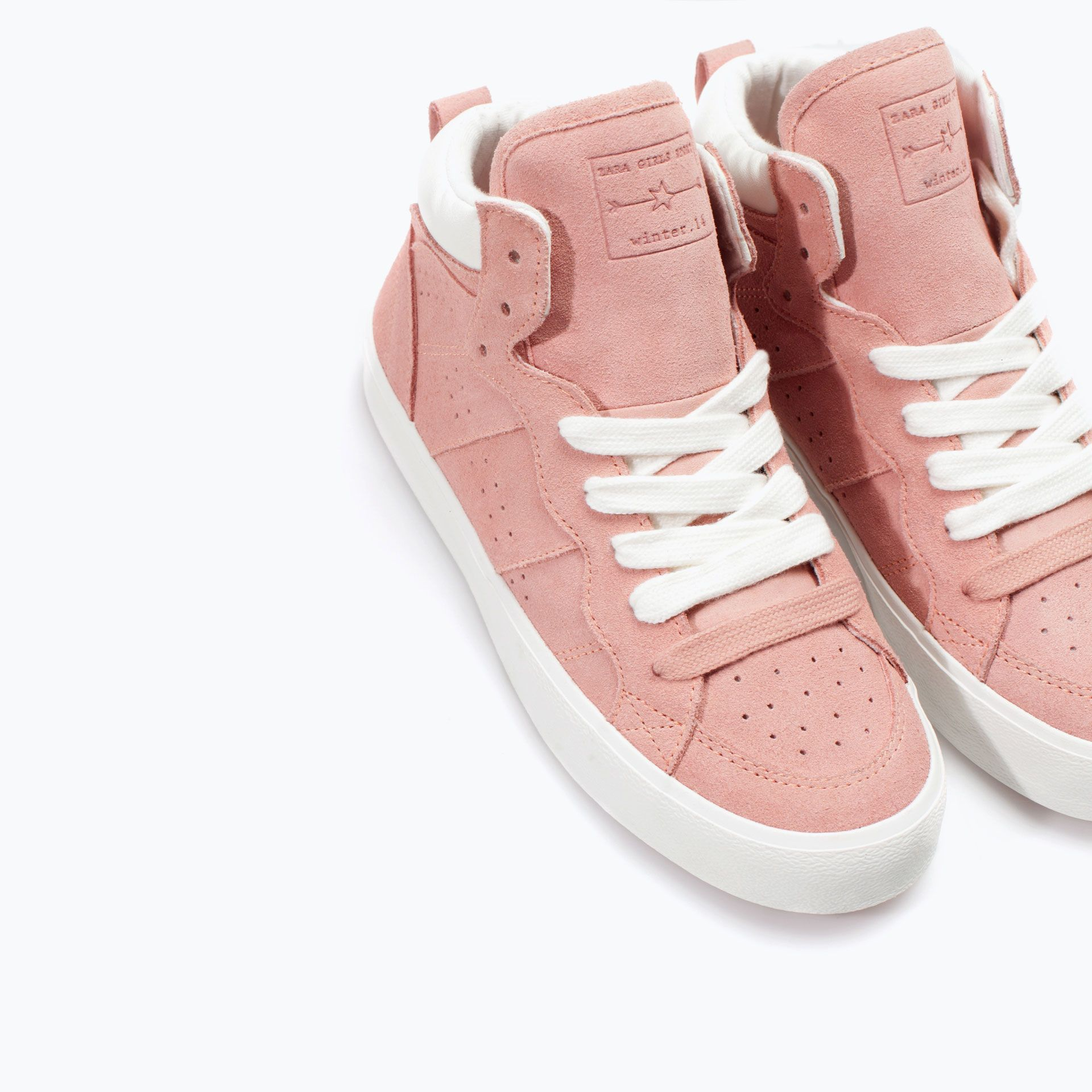 Image 4 of LEATHER HIGH-TOP SNEAKER from Zara