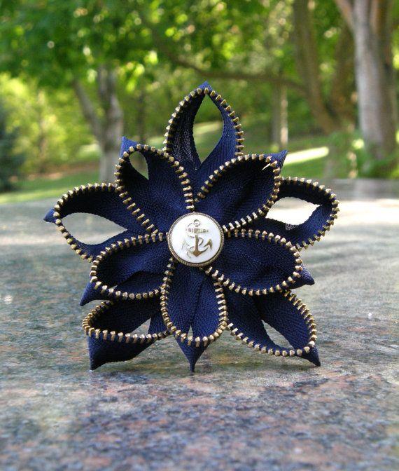 Zipper Flower Hair Piece Navy by CanCanDancer on Etsy, $18.00