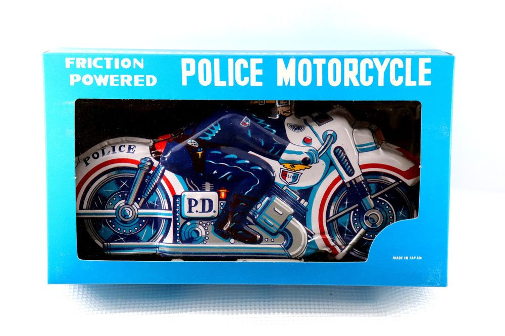 Vintage 1960 S Tin Toy Friction Powered Police Motorcycle Made In