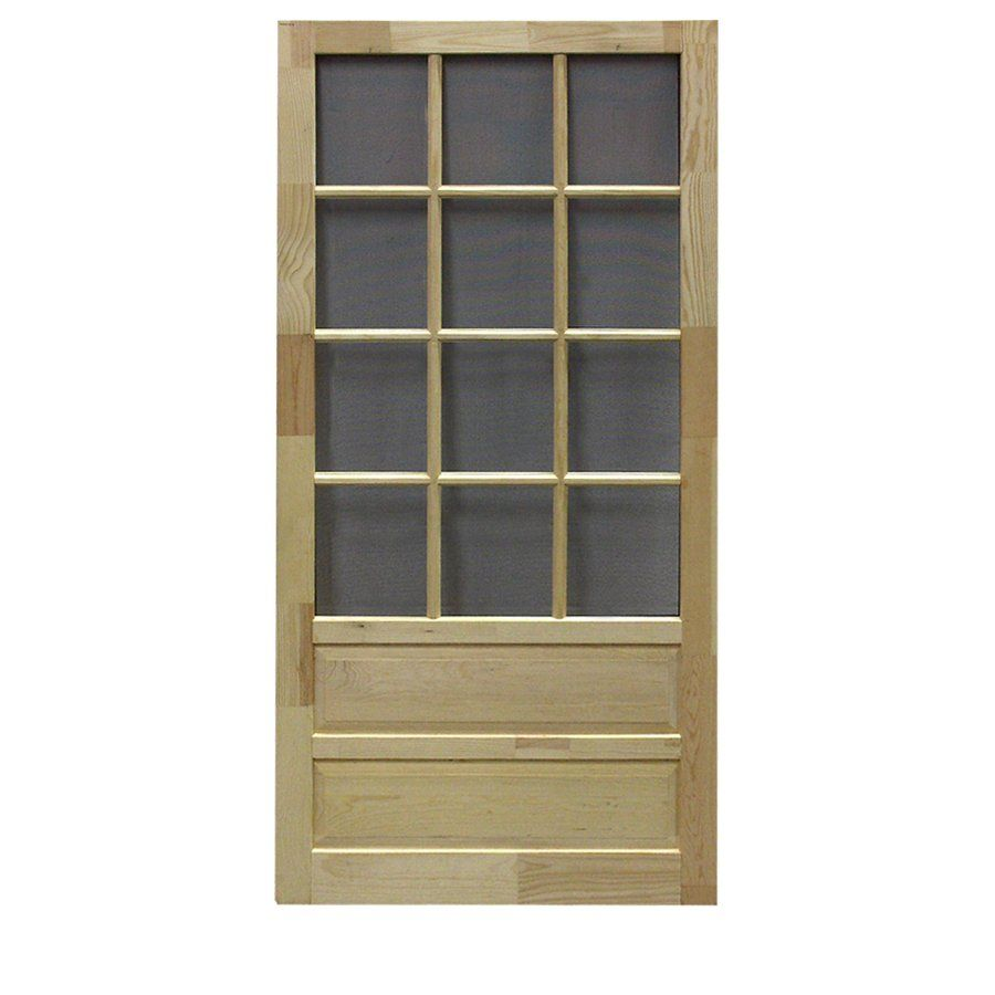 Screen Tight Hampton 12 Lite Wood Natural Wood Screen Door Common 32 In X 80 In Actual 32 In X 80 In Wood Screen Door Screen Door Renovation Hardware
