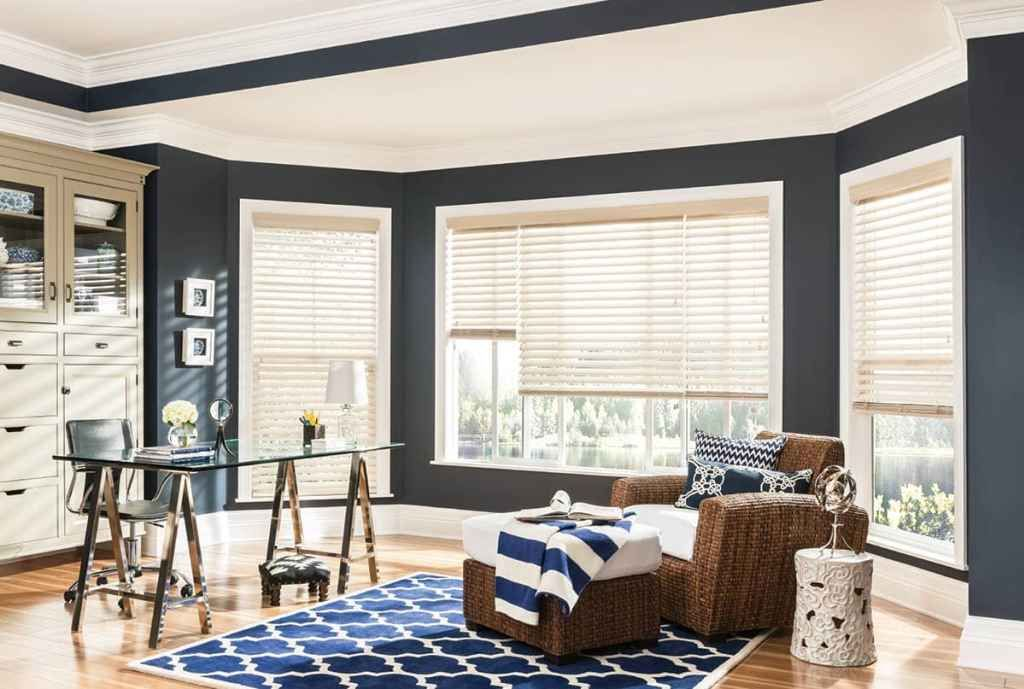 The Ultimate Guide To Blinds For Bay Windows The Blinds Com Blog Bay Window Blinds Faux Wood Blinds Blinds For Windows