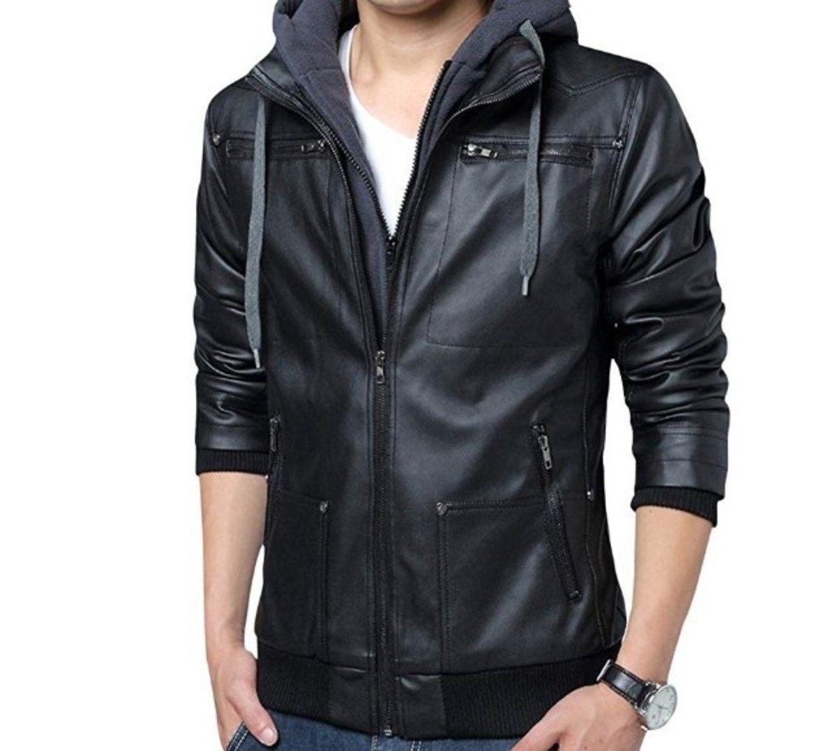 Mens Hooded Faux Leather Biker Jacket In 2021 Faux Leather Jacket Men Leather Jacket With Hood Hooded Jacket Men [ 1077 x 1200 Pixel ]