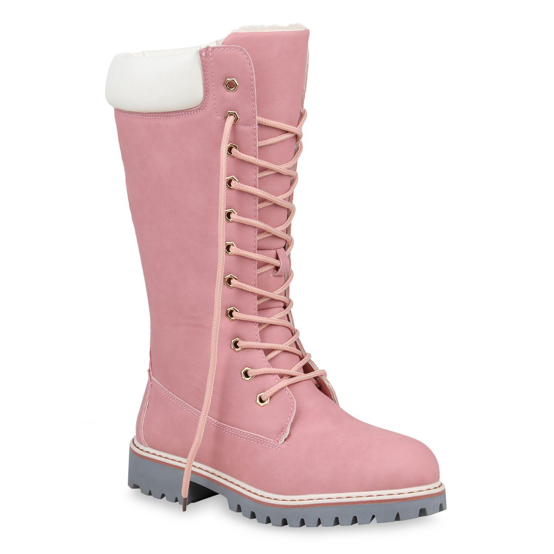 Damen Stiefel Worker Boots Rosa   Stiefel, Schuhe online