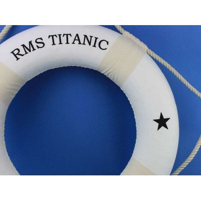 "Handcrafted Nautical Decor RMS Titanic 15"" Red Decorative Lifering Color: White, Size: 20"" H x 20"" W x 2"" D"
