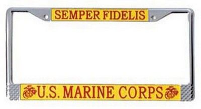 usmc military license plate frame us marines license plate frame american made - Military License Plate Frames