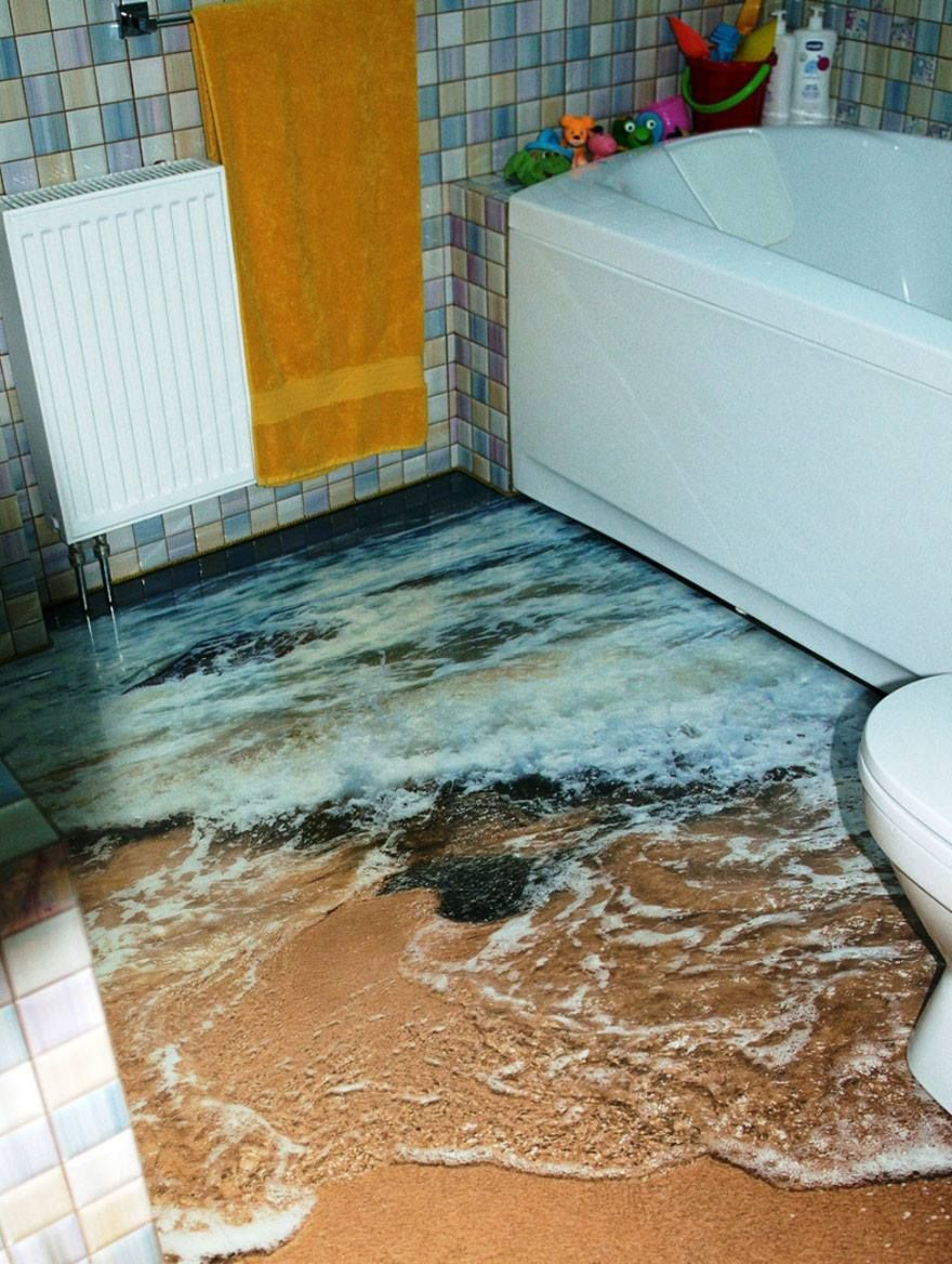 Design My Bathroom 3D Ocean Shore 3D Epoxy Flooring  If I Only Had This In My House