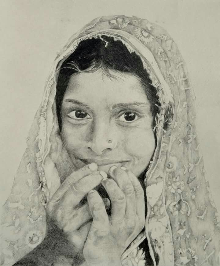 My drawing of a village girl from jaipur ivy hales jaipurivydrawings of pencilivy