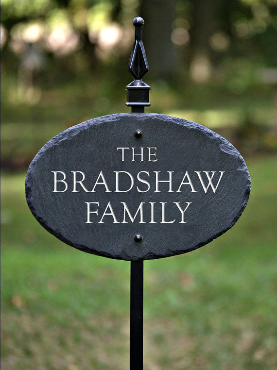 House Name Plaque W Lawn Stake Carved Slate Stone Marker