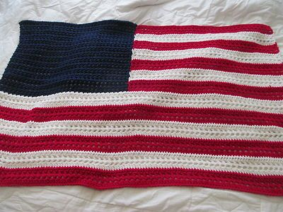 American Flag Vintage Patriotic Hand Crocheted Afghan Throw Lap