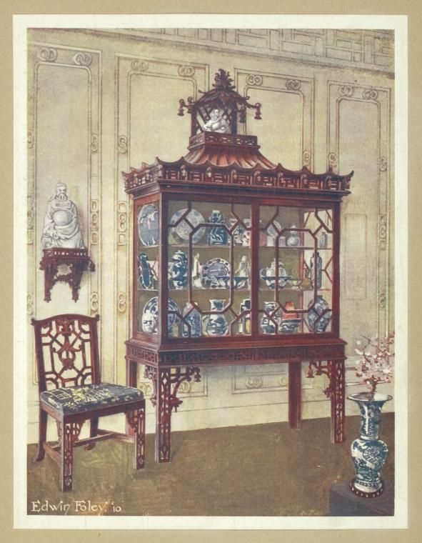 Carved China case in Chippendale Chinese manner. A Chippendale Chinese chair, ca. 1750. (1910-1911)