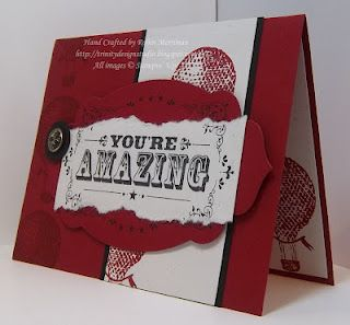 Masculine card with Stampin Up's You're Amazing stamp set and apothecary label framelit die