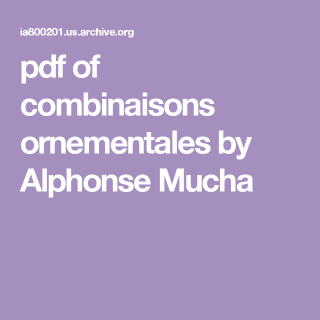 pdf of combinaisons ornementales by Alphonse Mucha