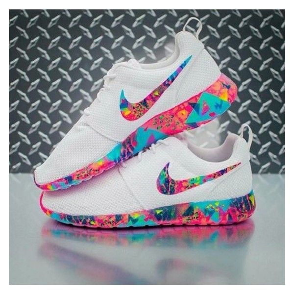 competitive price d5280 f5000 Shoes  rose roshe runs colorful multicolor white nike nike nike... ❤ liked  on Polyvore featuring shoes, neon pink shoes, fluorescent shoes, nike, ...