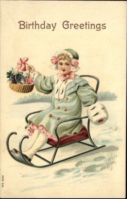 Little Girl on Sled Nicely Embossed Series #222 c1910 Birthday Postcard #1