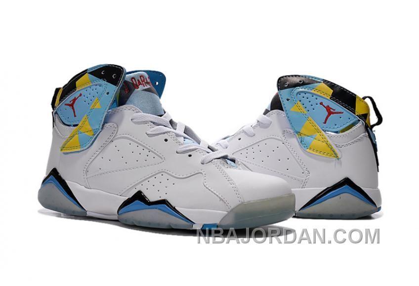 b0a186d1bafe Air Jordan 7s White Blue Yellow Men Women Sports Shoes Super Deals ...