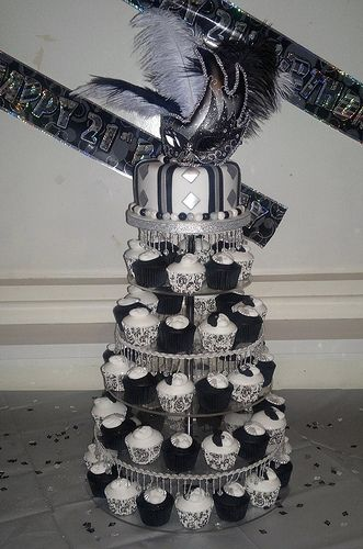Black White Silver Birthday Decorations