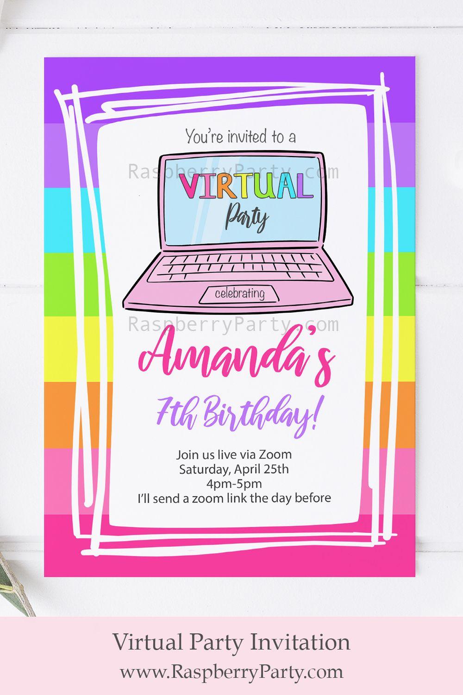 Virtual Party Invitation in 2020 Virtual invitations