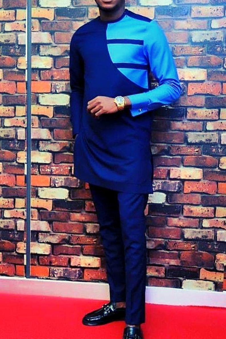 Blue african suit for men dashiki clothing for men