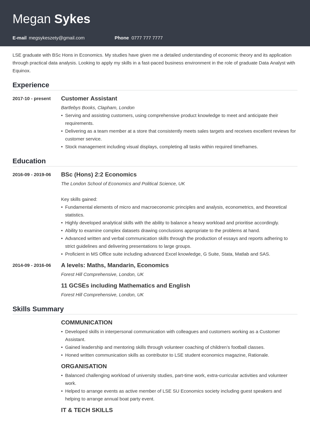 uk graduate cv example template influx in 2020 Cv