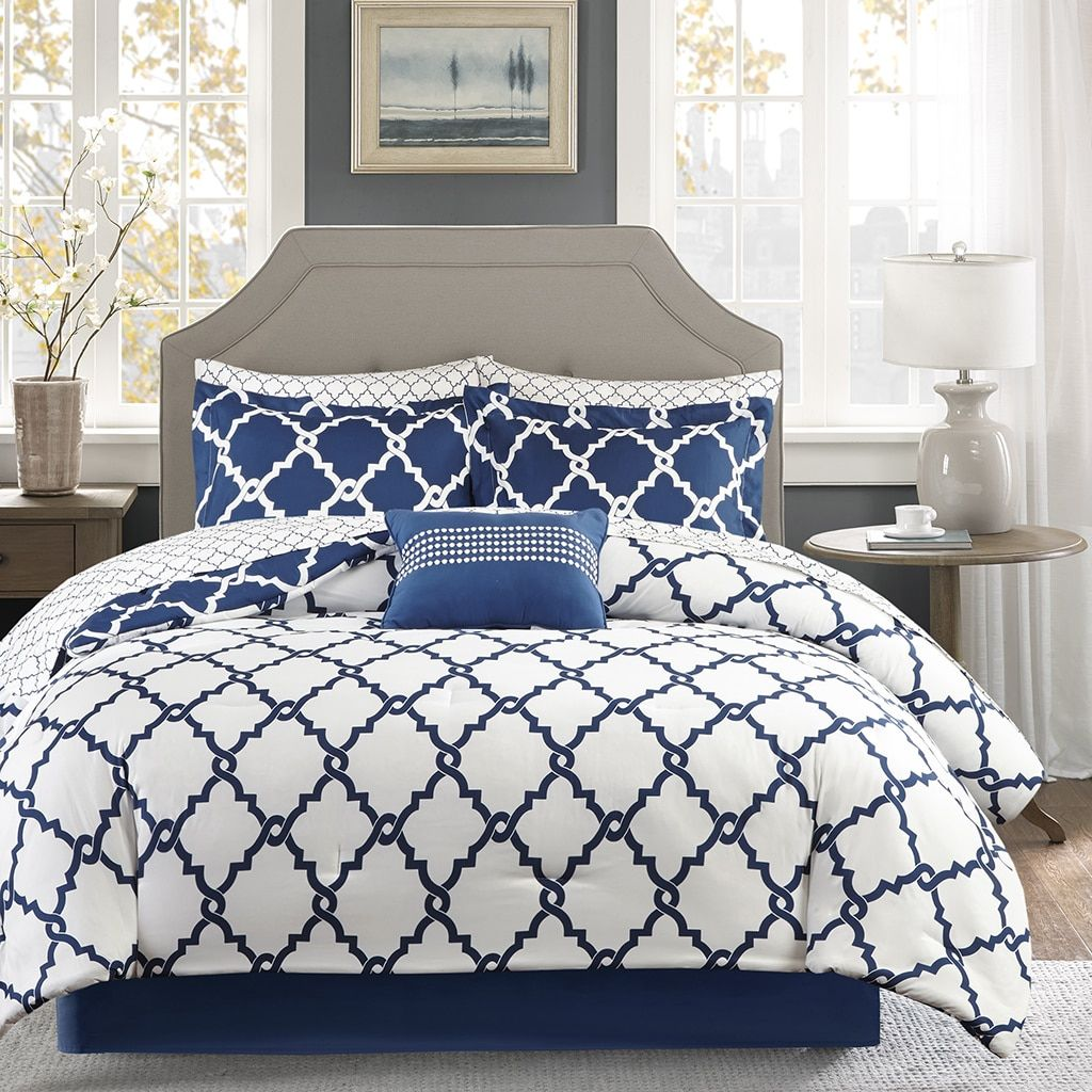 Navy And White Fretwork Comforter Set Queen Size In 2020