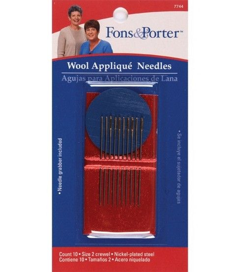 Fons /& Porter 7744 Wool Applique Hand Needles Size 2 with Needle Grabber 10-Count Crewel