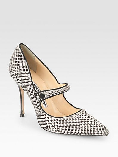 d16b082e42a78 Manolo does houndstooth? Roll Tide! Manolo Blahnik - Campari Houndstooth  Calf Hair Pumps - Saks.com